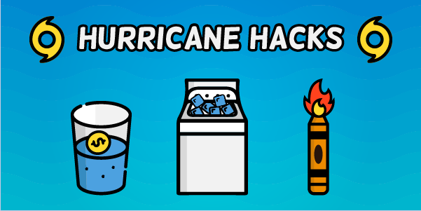 Hurricane life hacks, like a crayon candle and washing machine cooler