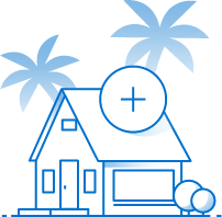 illustration of blue florida home with a plus sign overlapping it