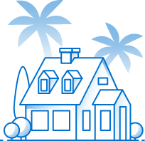Illustration of a home in florida with palm trees