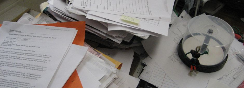 Messy pile of papers