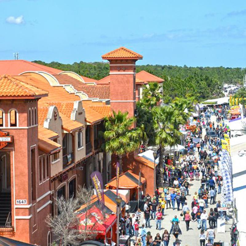 overhead image of a street in Daytona depicting the city