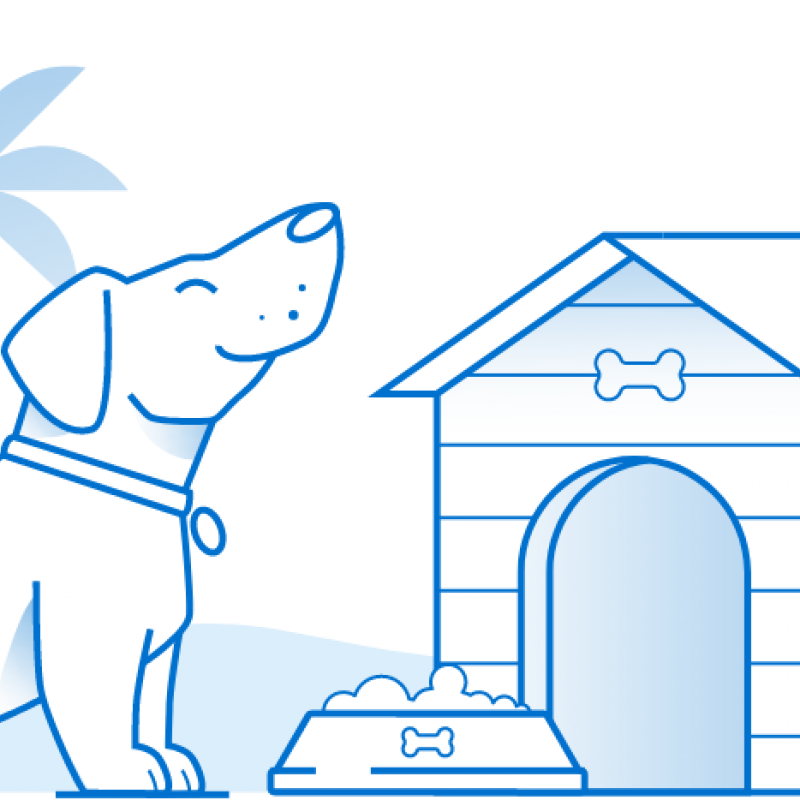 Illustration of a dog in front of a dog house in florida
