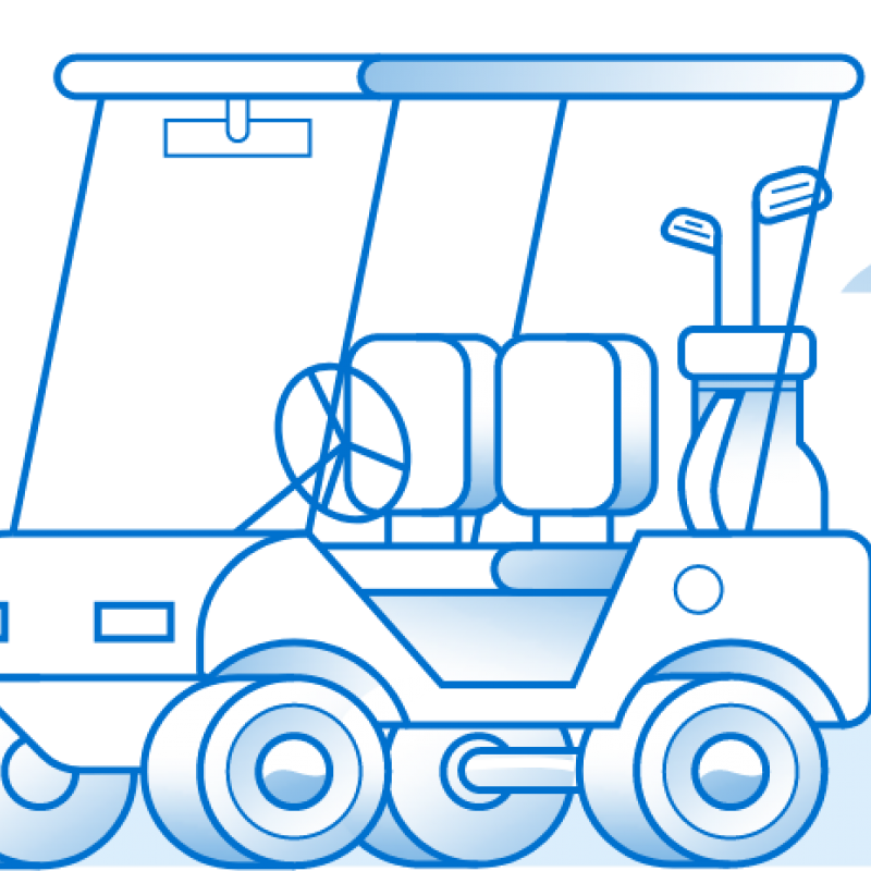 Illustration of a broken down golf cart on a Florida highway