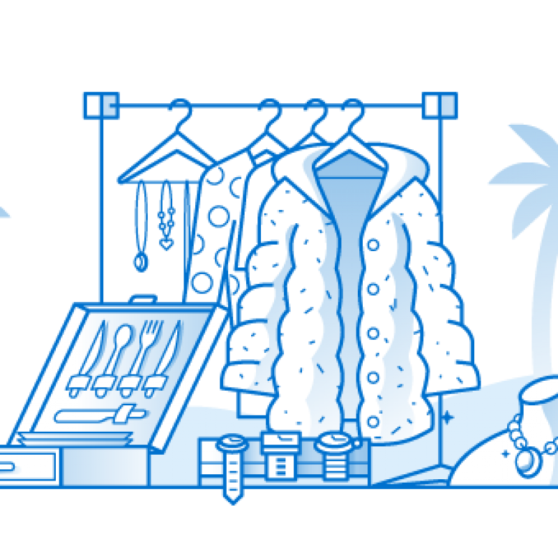 Illustration of expensive clothing and jewelry with palm trees in the background