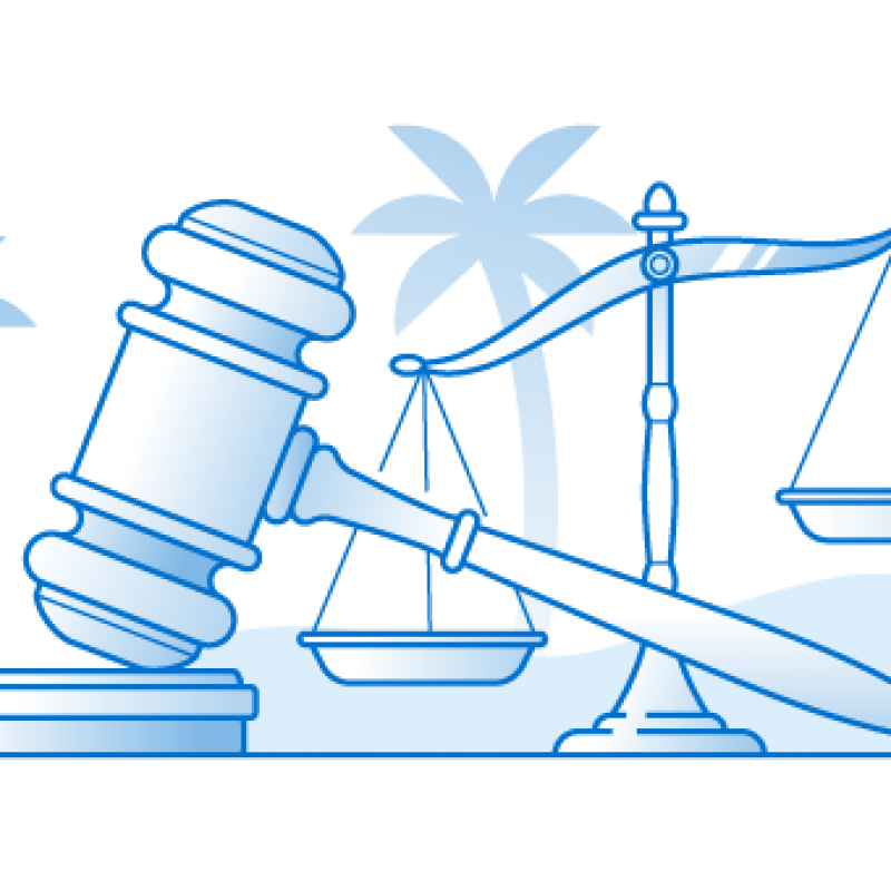 Illustration of a gavel and scales of justice with palm trees in the background