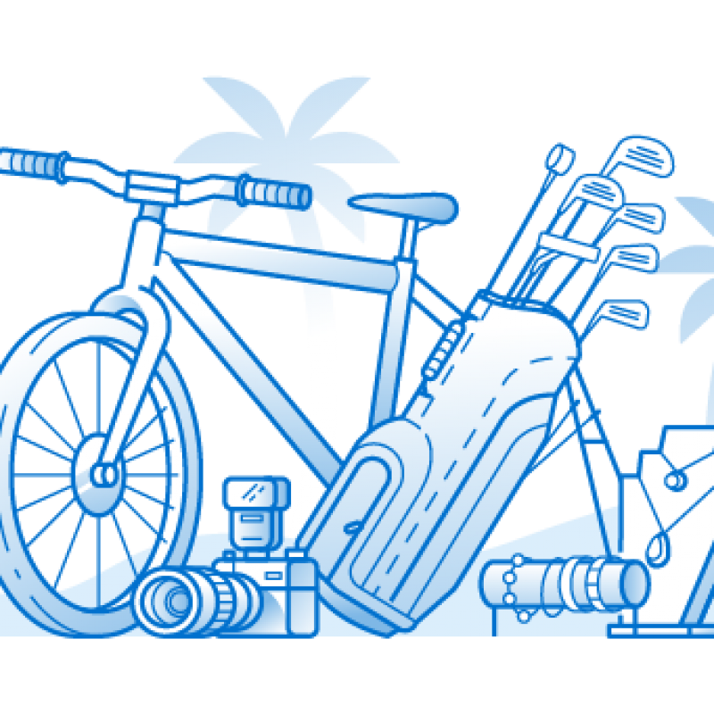 Illustration of a bike and golf cart with palm trees in the background
