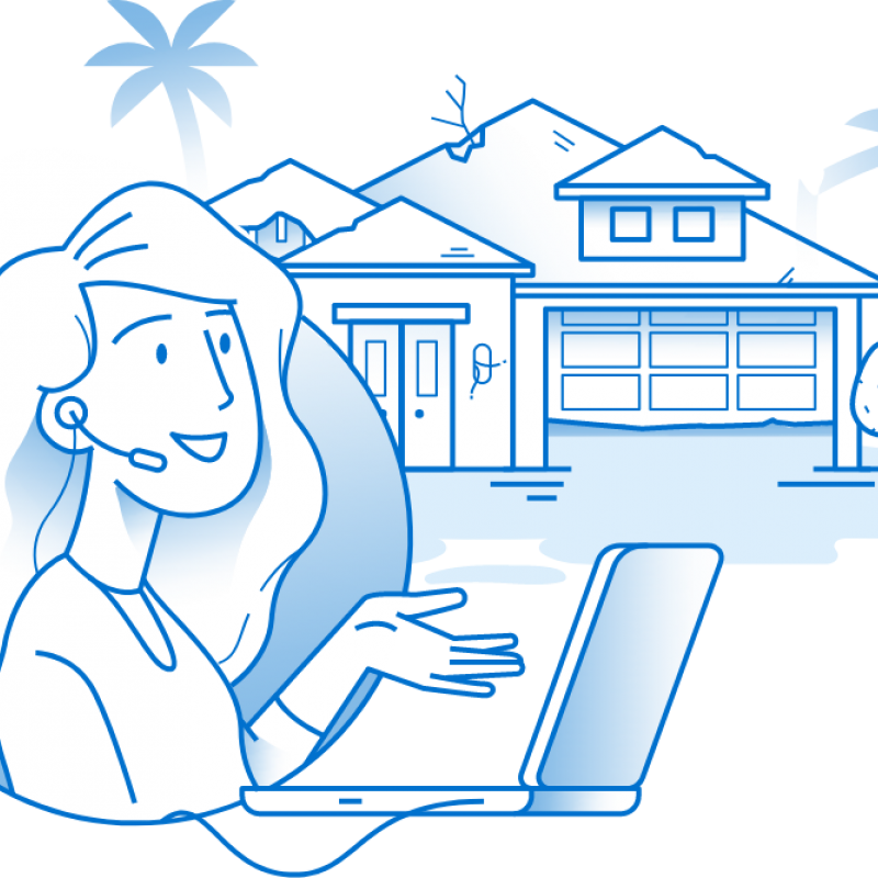 Illustration of a woman with a headset on a laptop with a house in the background