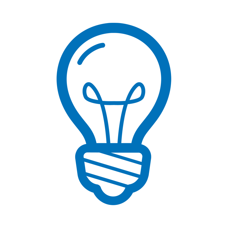 A tech-forward blue lightbulb icon